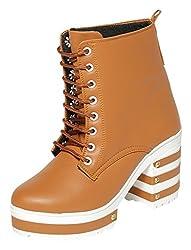 TEN Womens Tan Combat Boots - 3 UK