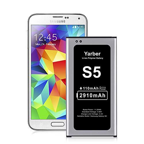 Yarber Batterie pour Samsung Galaxy S5 Batterie Lithium-ION 2910mAh Mise à Niveau Batterie Interne Remplacement pour Samsung S5, 24 Mois de Garantie Production de 2019