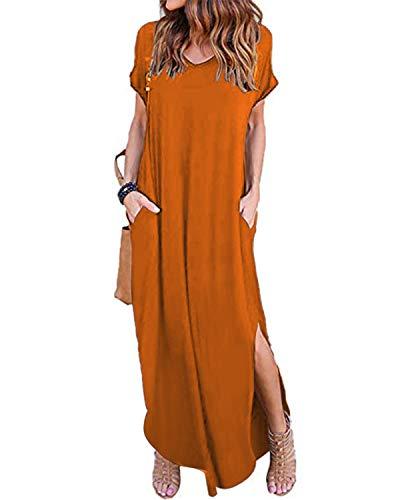 VONDA Maxikleider Damen Sommerkleid Kaftan Maxikleid Strandkleid Lang Damenkleider Mit Ärmel A-Orange Rot S -