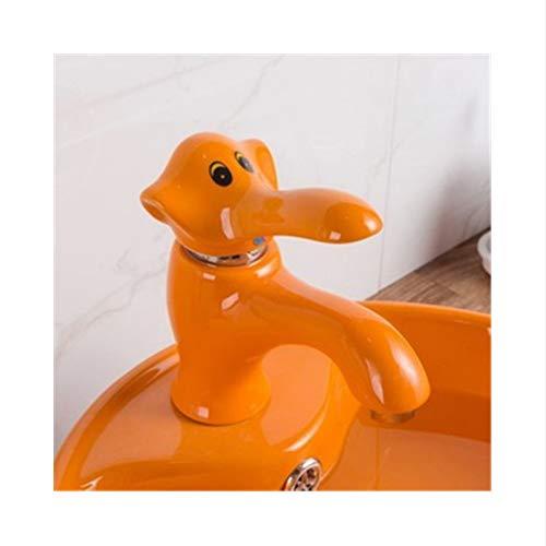Lddpl Grifo Grifos del lavabo del baño Grifos de latón y de cerámica del fregadero de la historieta Grifos del elefante de la sola manija Grifo del fregadero del lavabo de los grifos de la grúa