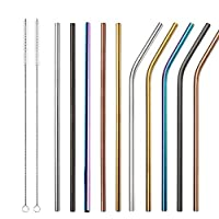 11Pcs Stainless Steel Straw Reusable Metal Drinking Straw With Cleaner Brush For Home Party Barware Bar Accessories