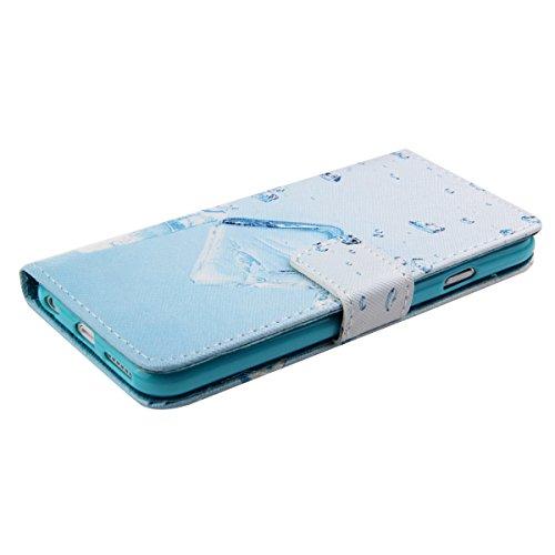 Ukayfe Custodia iPhone 6/6S in Pelle, Portafoglio / wallet / libro Flip elegante e di alta qualità con porta carte di credito e banconote Stampa creativa Chiusura Magnetica Protettiva Cover Case per i Ice soda