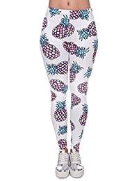 Leggings à motifs, legging jegging pour femme jeune fille sexy lady girl pantalon caleçons moulants imprimé sportifs féminins qui vont de la taille aux chevilles collants sans pieds ou caleçon, choisir:LEG-098 Ananas coloré