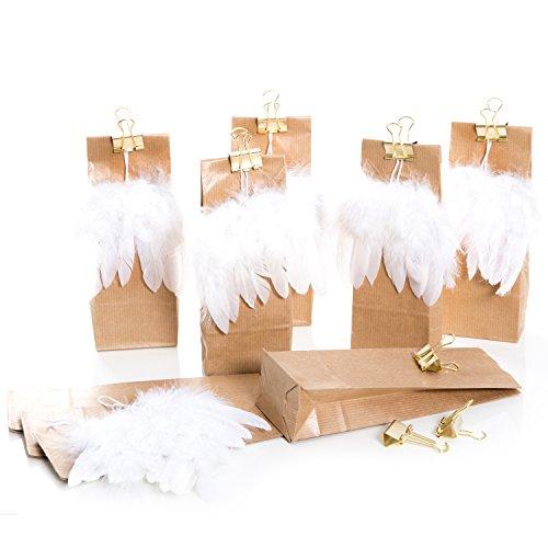 10 braune Weihnachtstüten mit Engels-Feder-Flügel und goldener Metallklammer Tüte 7 x 4 x 20,5 cm, lebensmittelecht!; liebevolle und außergewöhnliche Verpackung für Geschenke zu Weihnachten -