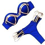 SCHOLIEBEN Bikini High Waist Damen Set Push Up Sexy Brazilian Trägerloser BH Glitzer Tanga Triangle...