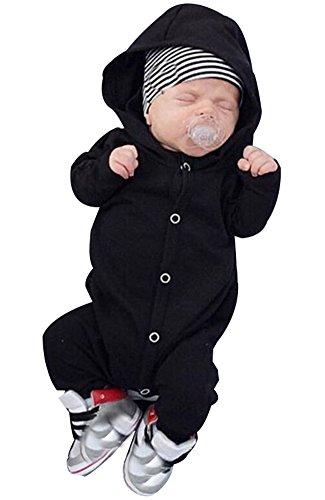 Säugling Neugeborene Baby-Spielanzug-Strickjacken-Baumwolle mit Kapuze Bodysuit (0-6 Monate, Schwarz)