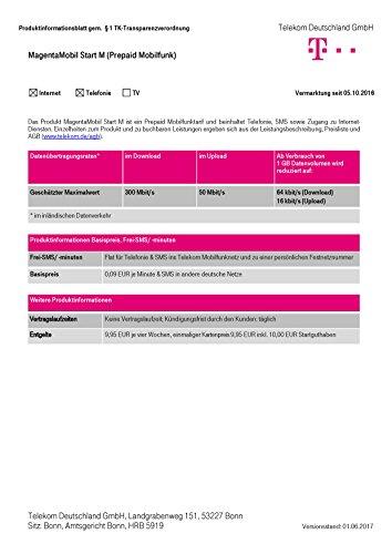 Magenta Mobil Start M Xtra Karte Telekom 10 Euro Guthaben Prepaid Handy SIM T-Mobile zum selber registrieren T-mobile-handy Mit Sim-karte