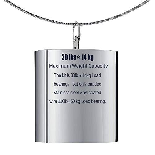 Alambre de Colgar Marco de Foto Revestido de Vinilo Carrete de Alambre de Acero Inoxidable con 20 Piezas de Manguito de Aro de Aluminio de Engarce Sostener hasta 110 Lbs 1,5 mm x 98 Pies