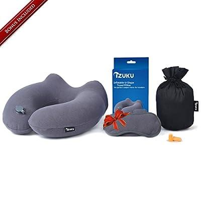 Nackenkissen Aufblasbares [Bonus inklusive] IZUKU® egornormisches nackenhörnchen perfekt für Reisen Büro und Haus Weiche und Angenehme Reisenkissen mit Extra-geschenk
