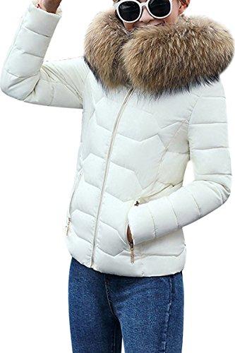 YMING Femme Faux Fourrure Manteau Hiver Élégant Manches Longues Veste Épaissi Doudoune à Capuche,Blanc-B,L