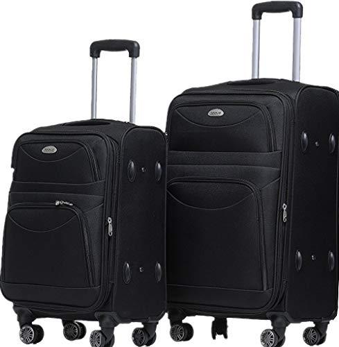 TOP-Trolley-Koffer-Set - 2-teilig - 73+53cm, Dehnfalte, 4 Doppelrollen, TSA-Schloss. (schwarz)