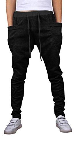 jeansian Uomo Casuale Pantaloni Tuta Sportiva la Formazione Training Baggy Drawstring Sweatpants S528 Black XL