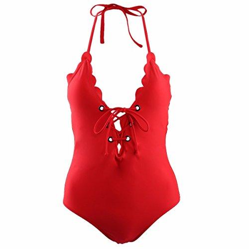 squaregarden Einteiliger Badeanzug für Damen, Schnürung V-Ausschnitt, Monokini, Badeanzug, Damen, rot, M(US 2-4)/(Read Left Size Chart Image)