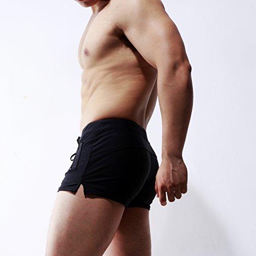 ELE GENS Herren Männer Badeshorts Boxer Badehose Watershorts Strandshorts Shorts Kurz Schwarz