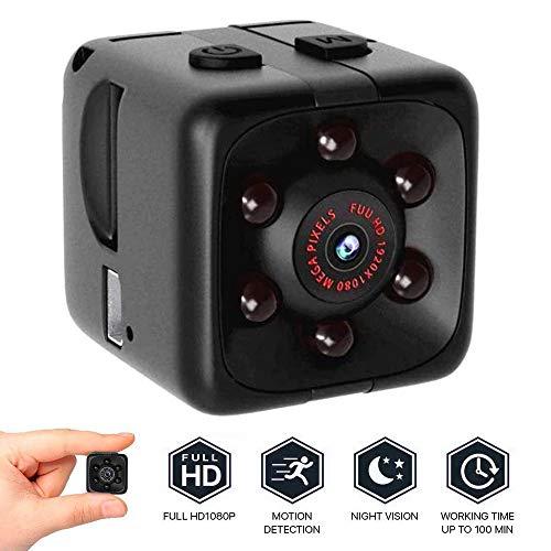 Mini Kamera Überwachungskamera 1080p HD Camera Tragbare Kleine Kamera mit Videokamera Mikro Nanny Cam mit Bewegungserkennung und Infrarot Nachtsicht (Hd-wireless-spion-kamera)