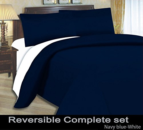ARLinens Microfiber 04Pcs Complete Reversible Bed Set Duvet Quilt Cover Fitted Sheet & Pillowcases Color Navy Blue White Size Double