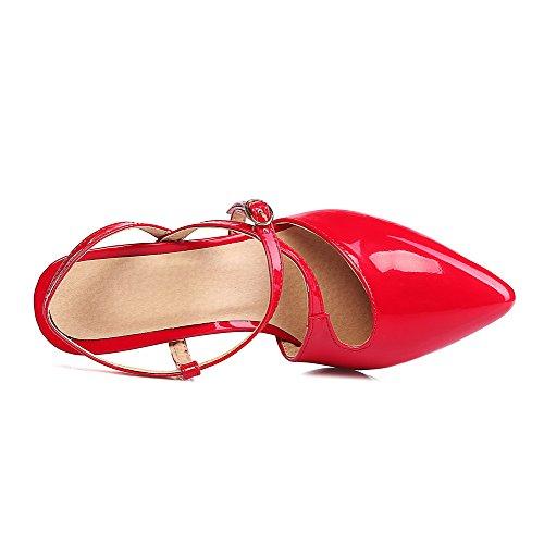 VogueZone009 Donna Fibbia Tacco A Spillo Pelle Di Maiale Puro Punta Chiusa Sandali Rosso