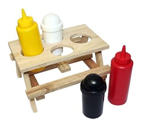Mini Picnic Table Condiment 5 piece set BBQ's Festivals by Thumbs Up