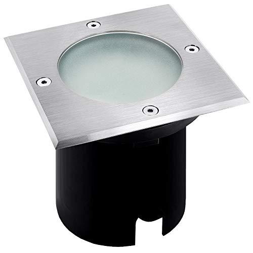 MADON LED Bodeneinbaustrahler Aussen eckig IP65 - Bodenstrahler befahrbar & betretbar mit LED GU10 Leuchtmittel 6W neutralweiß -
