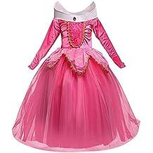 a74f258ed4e1 NNDOLL Aurora Principessa Vestito Sleeping Beauty Costume Bambina Carnevale  Abito Partito Ragazza Cerimonia (Rosa 140