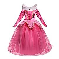 db26e31d78ec NNDOLL Aurora Principessa Vestito Sleeping Beauty Costume Bambina Carnevale  Abito Partito Ragazza Cerimonia (Rosa 140  5 - 6 Anni)