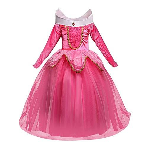 ssin Dornröschen Kleid Kostüm Kleines Mädchen Karneval Kleid 110 rosa ()