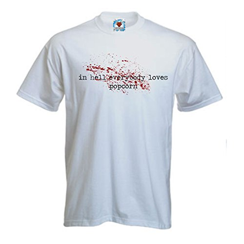 Reality Glitch Herren In Hell Everybody Loves Popcorn T-Shirt (Weiß, XXX-Large)