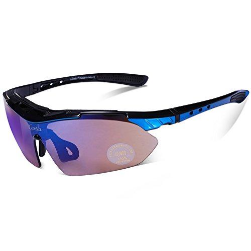 Carfia-TR90-UV400-Unisex-Gafas-de-Sol-Deportivas-Polarizadas-5-Lentes-de-Cambios-Incluido-para-Deporte-y-Aire-Libre-Ciclismo-Conduccin-Pesca-Esquiar-Golf-Correr-Negro-Brillo-Azul
