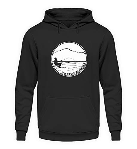 EBENBLATT Ich Hasse Menschen Angeln Fischen Geschenk – Unisex Kapuzenpullover Hoodie
