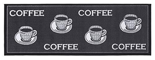 andiamo, strapazierfähiger und pflegeleichter Läufer in Kaffee-Muster Teppich Küchenläufer, 100{8261a35a8871b5277a4a50395042a5ff22b8654c48234af561ee19a0472ba2af} Polyamid, Coffee grau, 67x180 cm