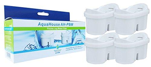 AquaHouse Wasserfilter Kartuschen kompatibel mit BRITA Maxtra Filterkanne + Bosch Tassimo Wasserfilter - Pack 4