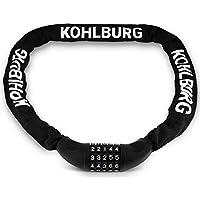 KOHLBURG sehr langes Zahlenschloss 115cm lang & 6mm stark mit Zahlencode - Kettenschloss mit Zahlenkombination - sicheres Fahrradschloss mit Kombination für Fahrrad & E-Bike