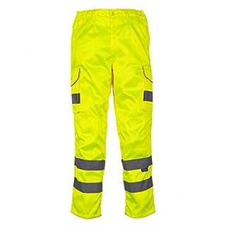 absab ltd Yoko Men's Hi-Vis Polycotton Cargo Trousers with Knee Pad Pockets New (38R, Yellow)