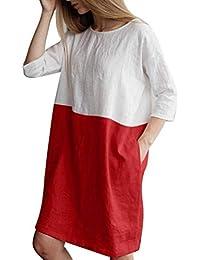 Yingsssq Vestito Estivo da Donna Vestito da Festa a Mezza Manica Abito da  Sera in Cotone e Lino Abiti da Taschino Abiti Casual Camicia da… accef78be7ce