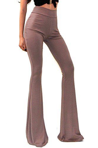 o Solid Hippie Wide Leg Flared Bell Bottom Pants - Khaki - Klein ()