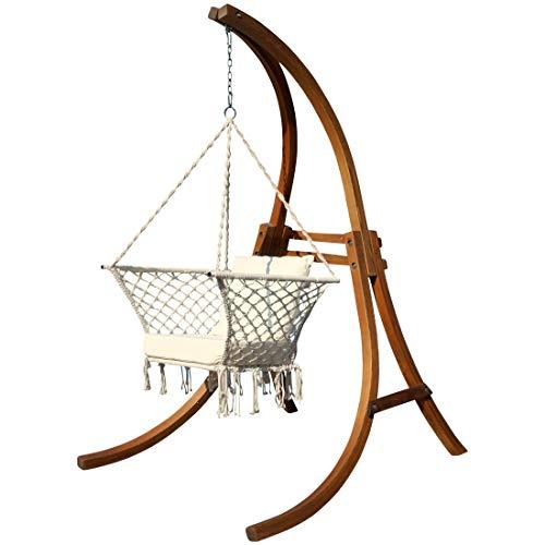 AS-S Design Chaise Suspendu Cat-Kailua avec Support en mélèze de Bois et Coussin de