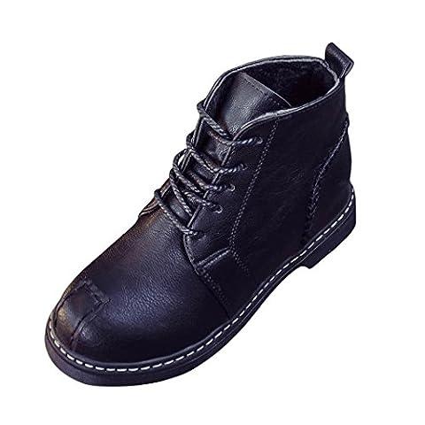 Bottes et bottines, Malloom Femme les bottines de dentelle talons de chaussures automne botte quatre saisons (EU:36, Noir)