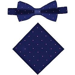 Conjunto Pajarita & Pañuelo de bolsillo navy con lunares rosa | 5 años de garantía | Regalos para hombres
