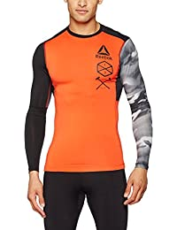 Reebok Actvchl Ls Grphc Comp Camiseta de Manga Larga, Hombre, Naranja (Carote), L
