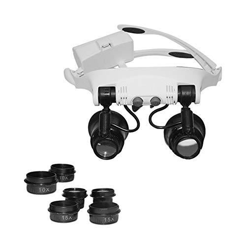 9892GJ-3A Headband Head Lupa con Lupa 2LED Multi-Lens Eye Loupe 10X 15X 20X  25X para Reloj Reparación de Relojes de joyería