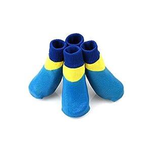 Wuhuizhenjingxiaobu Chaussures pour chiens, chaussettes pour chien, chaussettes antidérapantes pour chien de grande taille, chaussettes imperméables, bleu, vert, brun S- XXXXL Confortable et respirant