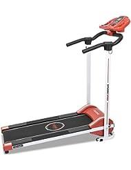Cinta de andar RunFit Step Red. 12 programas predefinidos. 1000 W de Potencia. Pantalla LED. 10 Km/h. Con Altavoces. Sistema seguridad magnético. Plegable (Rojo)