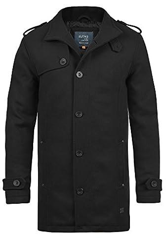 BLEND Warren Herren Wollmantel lange Jacke mit Stehkragen aus hochwertiger Wollmischung, Größe:XL, Farbe:Black
