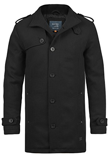 BLEND Warren Herren Wollmantel lange Jacke aus hochwertiger Wollmischung mit Stehkragen, Größe:L, Farbe:Black (70155) (Schwarz Wolle Herren Blend)