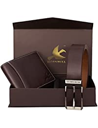 Hornbull Diwali Gift Set for Men's - Brown Wallet and Brown Belt Men's Combo Gift Set 4595