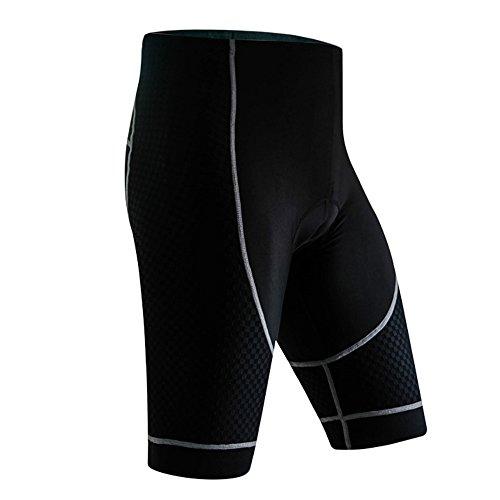 Eizur Radlerhose Herren Fahrradhose Halbe Hosen mit 3D Kissen Radfahren Kurz Gepolstert Funktional für Den Radsport Jogging MTB Schwarz XL