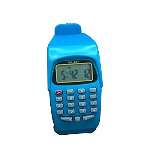 HONGYUANZHANG Multifunktions-Digital-Taschenrechner Mit Led-Uhr-Funktion Beiläufiges Silikon-Sport Für Die Kinder, Die Berechnen (3.5Cm X 5Cm), Blau