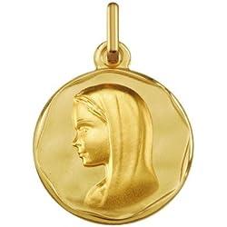 VIERGE MARIE AVEC VOILE - Médaille Religieuse - Or 9 carats - Hauteur: 16 mm - www.diamants-perles.com