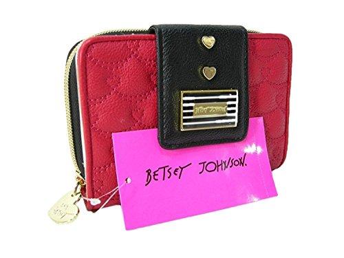 Betsey Johnson New Logo Bifold Wallet Purse Hand Bag Red Black Clutch (Johnson Handtasche Betsey)