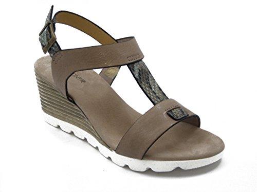 Sandalo Pregunta in pelle, scarpa con zeppa 6cm. e suola in gomma antscivolo - estivo PQ5477 Taupe